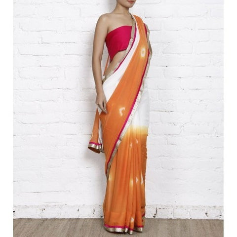 Orange & White Bandhani Georgette Saree