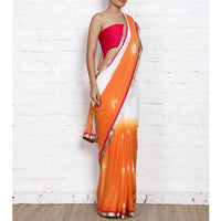 Orange & White Bandhani Georgette Saree - rang