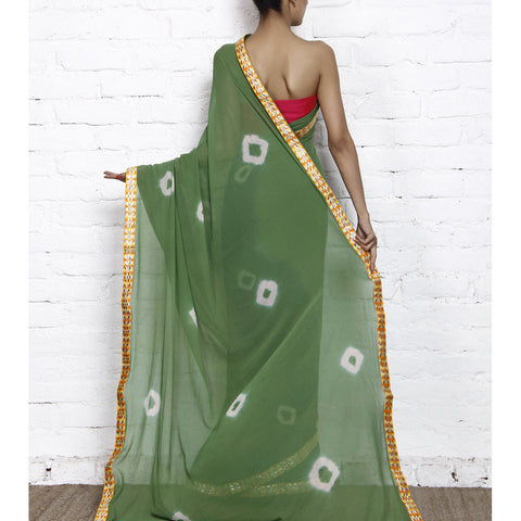 Green & Navy Blue Bandhani Georgette Saree