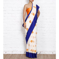 Beige Lotus Block Printed Georgette Saree | Georgette Sarees | #Rang