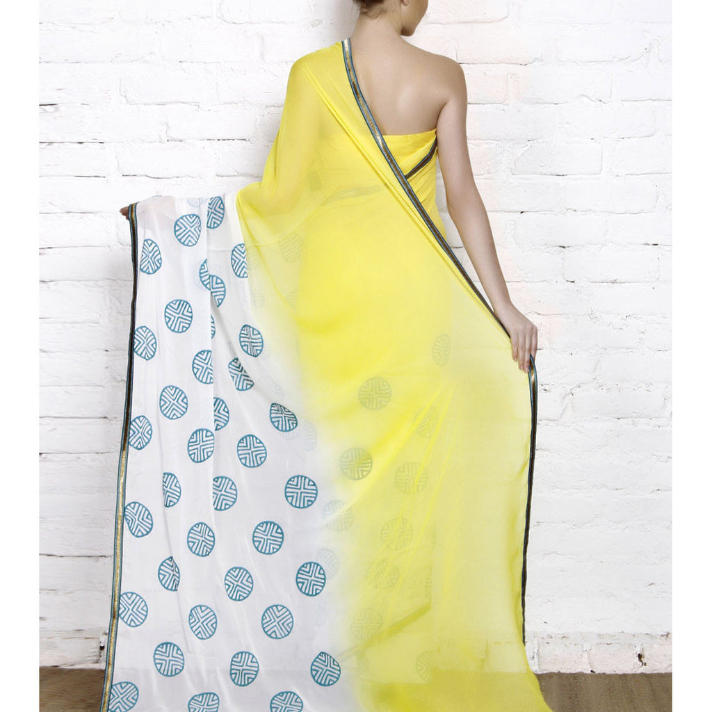 Yellow & White Dip Dyed Georgette Saree With Blue Block Print