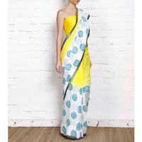Yellow & White Dip Dyed Georgette Saree With Blue Block Print - rang