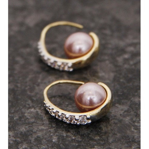 Brown Stone Embellished Earrings