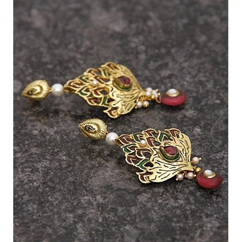 Gold Plated Ethnic Kundan Earrings (100000061665)