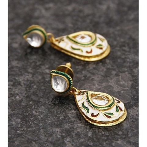 Gold Plated Ethnic Kundan Earrings (100000061670)
