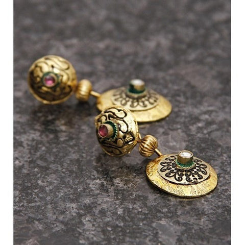 Gold Plated Ethnic Kundan Earrings (100000061668)