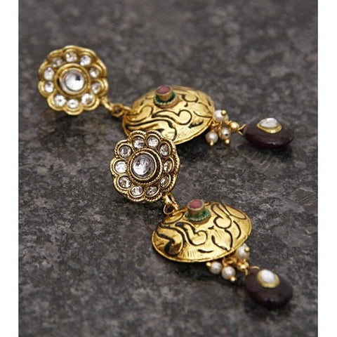 Gold Plated Ethnic Kundan Earrings (100000061666)
