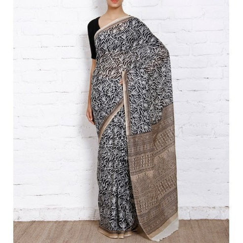 Black Hand Printed Cotton Saree