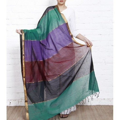 Multicoloured Cotton Dupatta with Zari Border - rang
