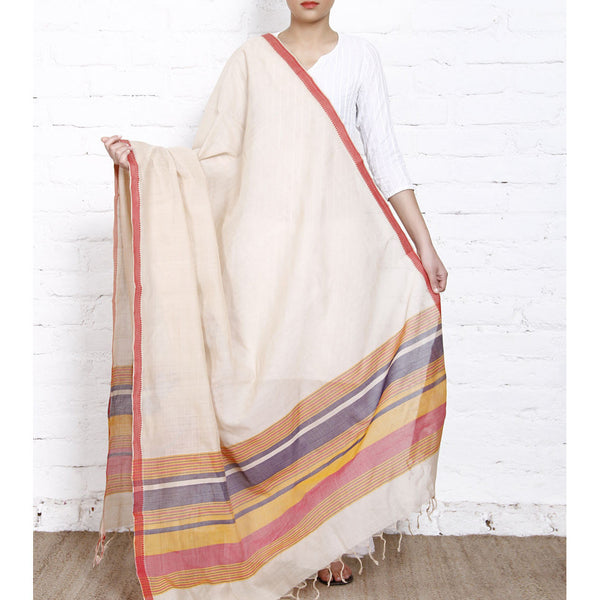 Beige Cotton Dupatta with Cotton Woven Border (100000052805) - rang