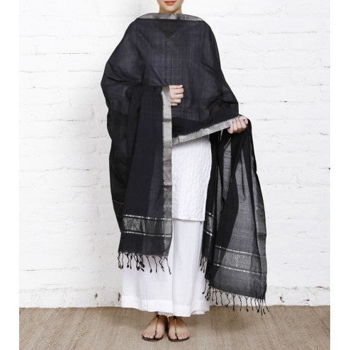 Black Cotton Dupatta with Zari Border