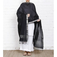 Black Cotton Dupatta with Zari Border - rang