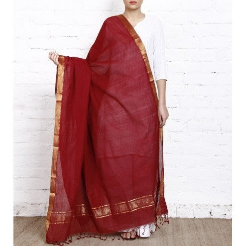 Maroon Cotton Dupatta with Zari Border