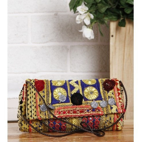 Clutch - Multicoloured Embroidered Afghani Clutch