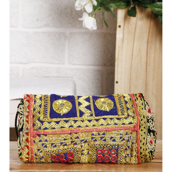 Multicoloured Embroidered Afghani Clutch (100000052898) - rang