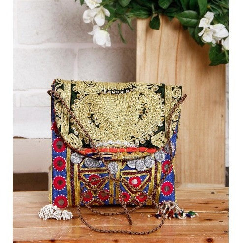 Blue & Black Embroidered Afghani Sling Bag - rang