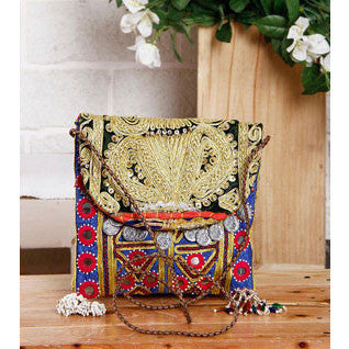 Blue & Black Embroidered Afghani Sling Bag