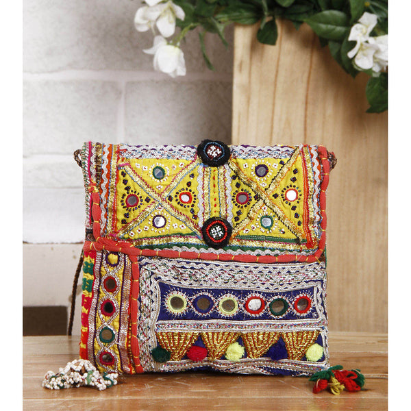 Multicolored Embroidered Afghani Sling Bag