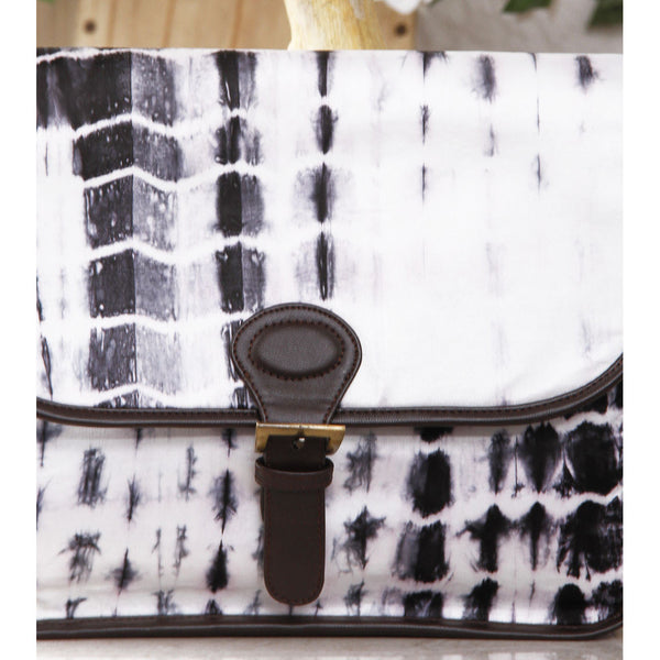 White & Black Tie Dyed Suede Sling Bag - rang