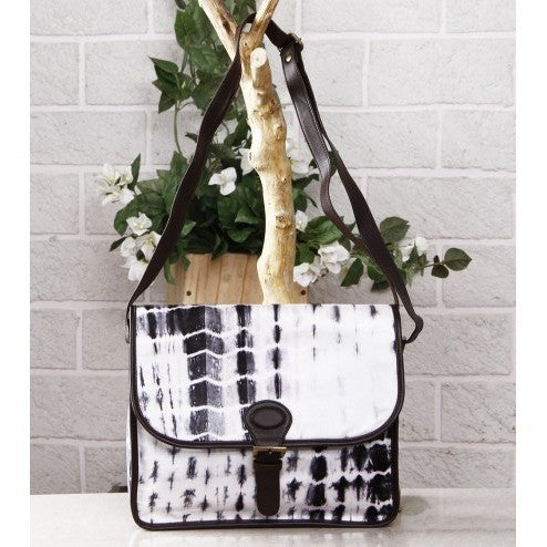 White & Black Tie Dyed Suede Sling Bag