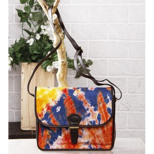 Blue & Orange Tie Dyed Suede Sling Bag