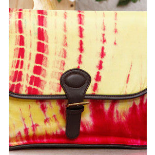 Pink & Yellow Tie Dyed Suede Sling Bag - rang
