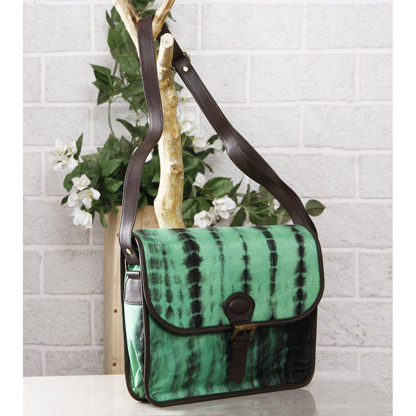 Green & Black Tie Dyed Suede Sling Bag (100000052935) - rang