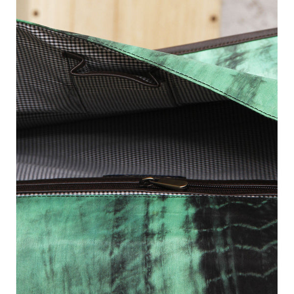 Green & Black Tie Dyed Suede Sling Bag