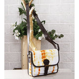 Yellow & White Tie Dyed Suede Sling Bag - rang