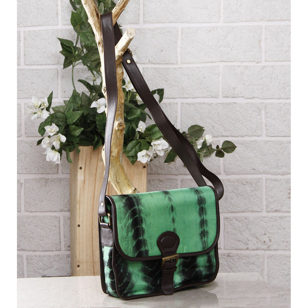 Green & Black Tie Dyed Suede Sling Bag.