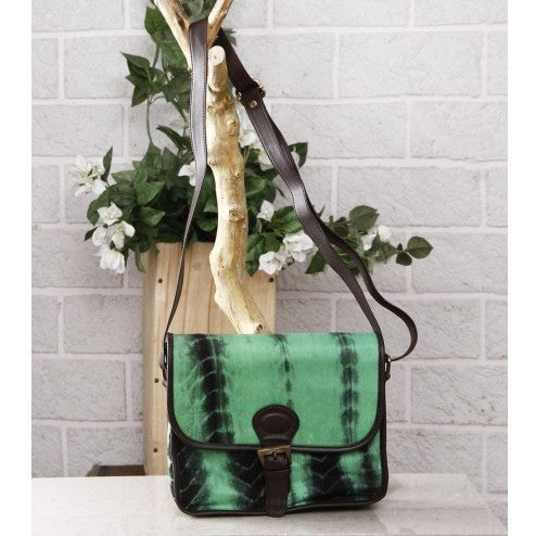 Green & Black Tie Dyed Suede Sling Bag (100000052937) - rang