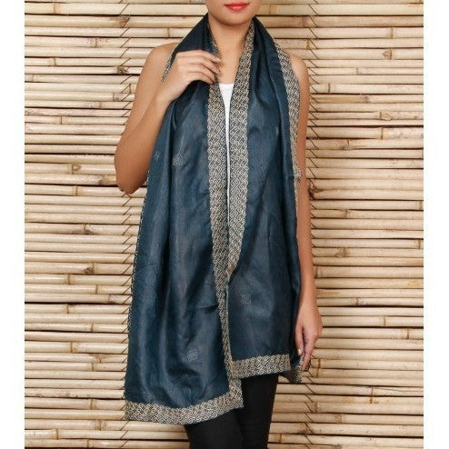 Green Silk Stole with Kantha Works