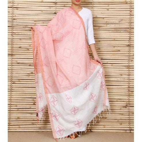 Cream Cotton Dupatta with Kantha Work