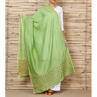 Green Chanderi Dupatta with Cut Work - rang