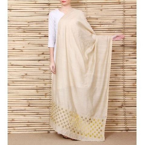 Beige Chanderi Dupatta with Cut Work
