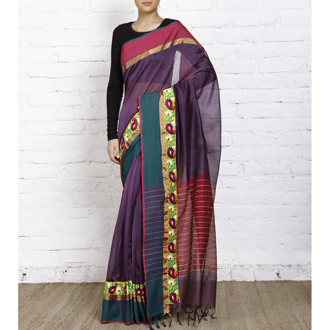 Purple Handloom Cotton Silk Saree