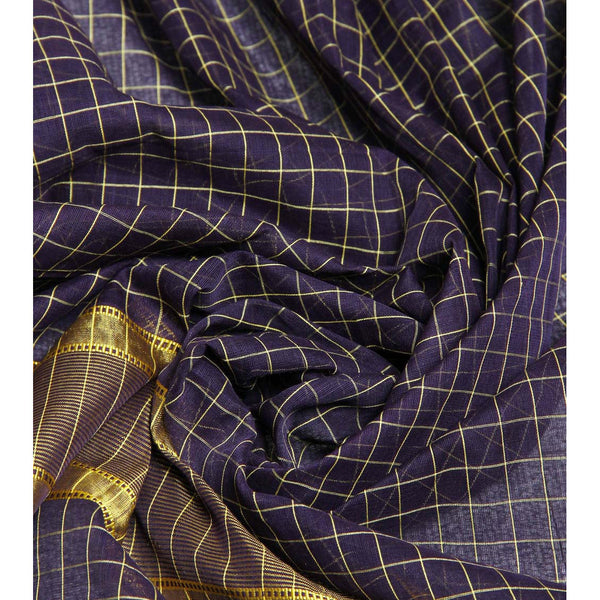 Purple Handloom Cotton Saree (100000055382) - rang