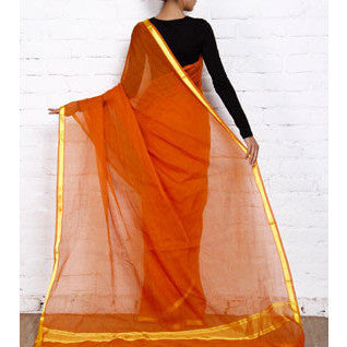Orange Handloom Cotton Saree - rang