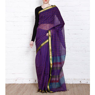 Purple Handloom Cotton Sarees - rang