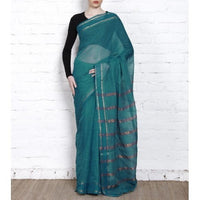 Blue Handloom Cotton Saree (100000055398) - rang