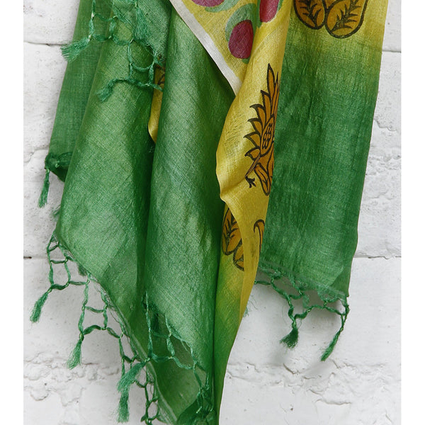 Beige, Yellow, Green & Black Tussar Silk Dupatta - rang