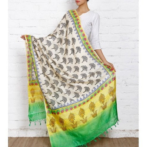 Beige, Yellow, Green & Black Tussar Silk Dupatta