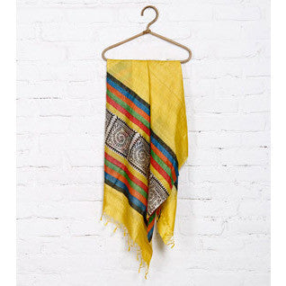 Yellow, Black Off White Warli Tussar Silk Dupatta