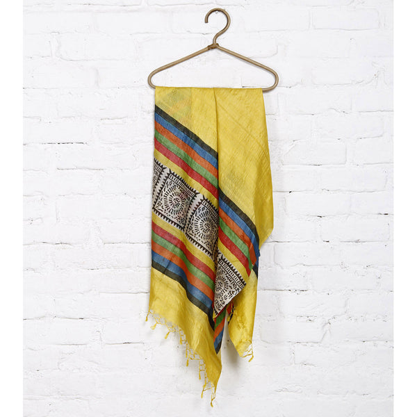 Yellow, Black Off White Warli Tussar Silk Dupatta - rang
