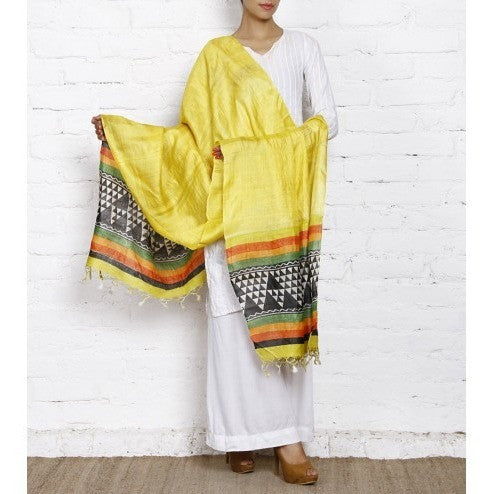 Yellow, Black & Off White Tussar Silk Dupatta