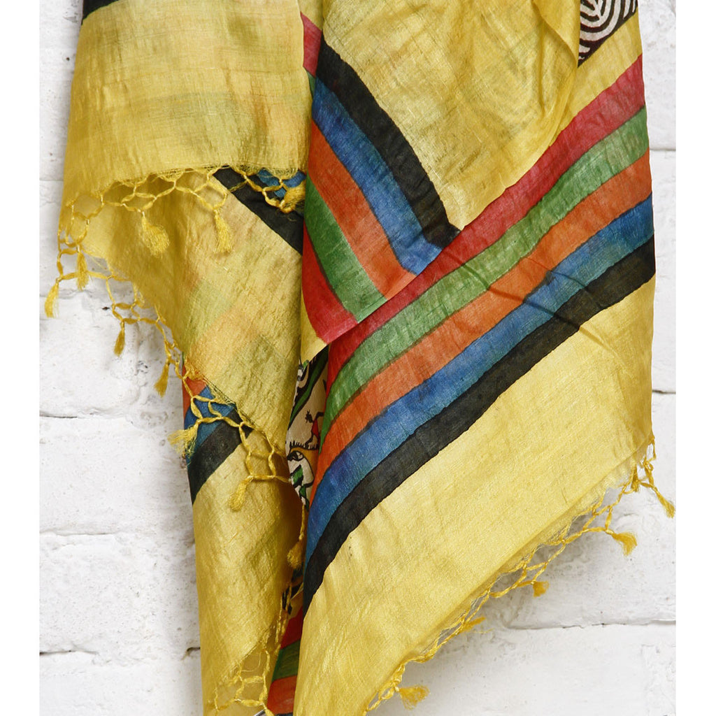 Yellow, Black Off White Warli Tussar Silk Dupattas