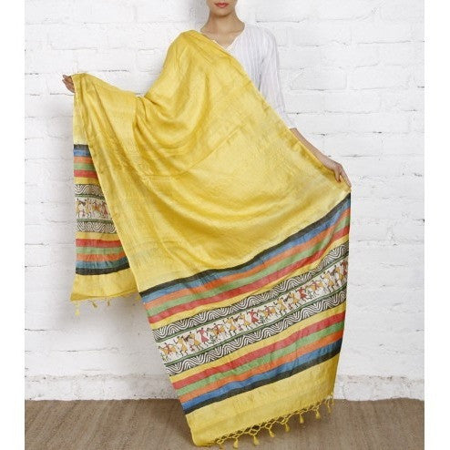 Yellow, Black Off White Warli Tussar Silk Dupattas - rang