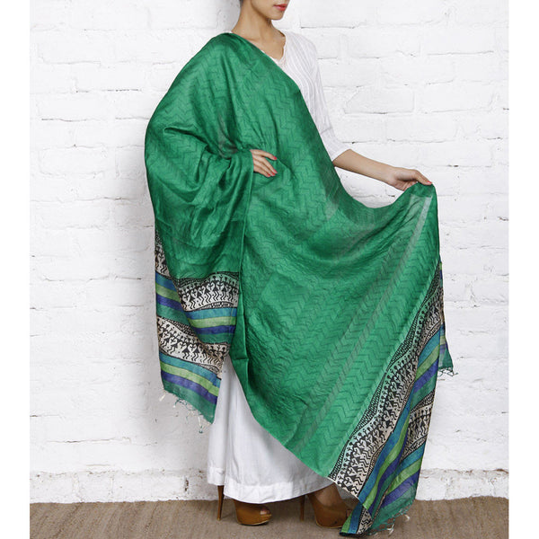 Sea Green, Blue, Black & Off White Warli Tussar Silk Dupatta - rang