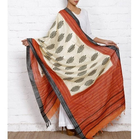 Beige, Orange & Black Tussar Silk Dupatta
