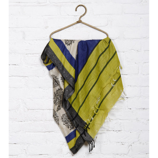 Beige, Blue, Green & Black Tussar Silk Dupatta